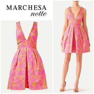 Marchesa Notte V Neck Metallic Floral Dress sz 2